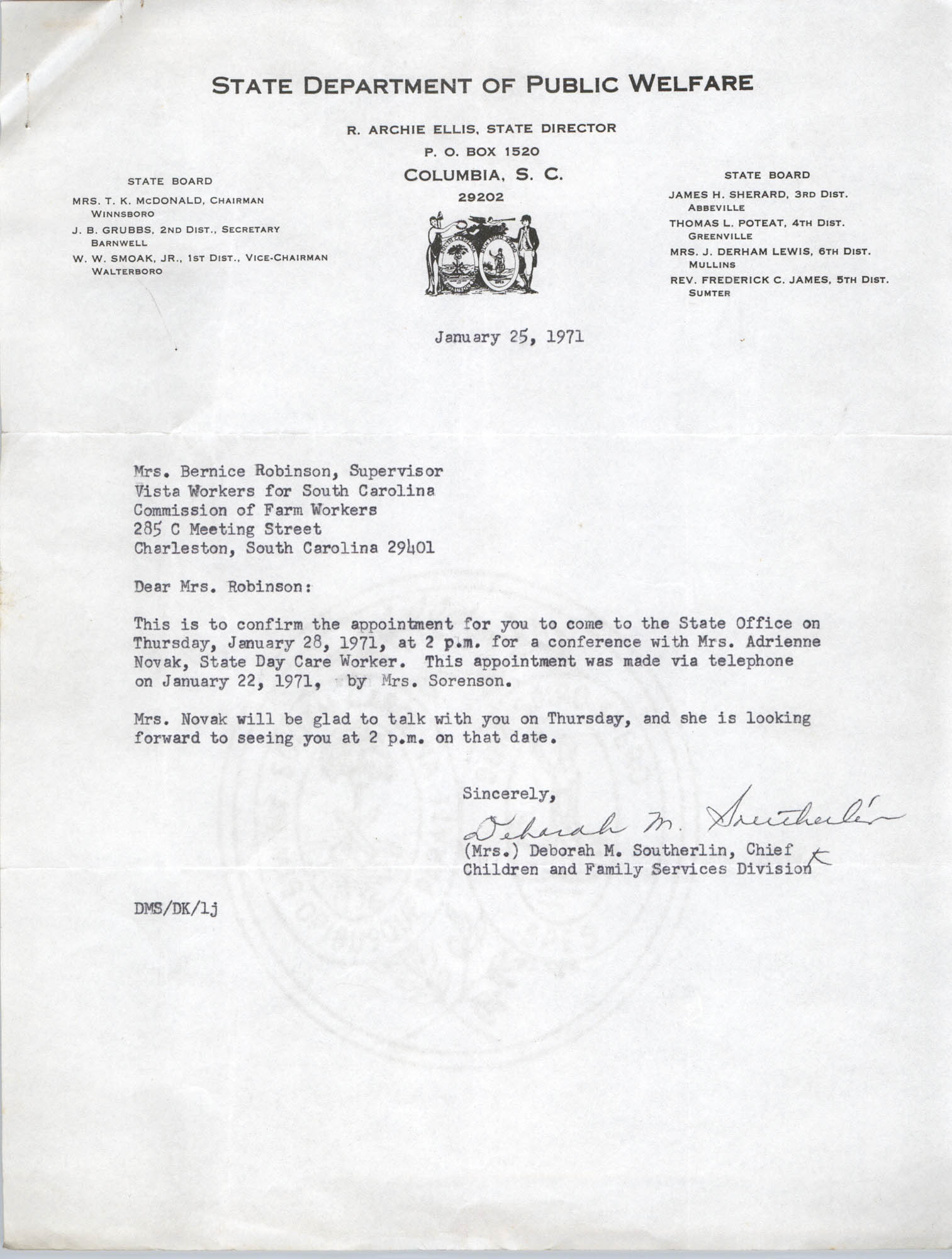 Letter from Deborah M. Southerlin to Bernice Robinson, January 25, 1971