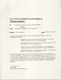 Memorandum from Bernice V. Robinson to John Hurt, November 11, 1971