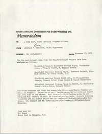 Memorandum from Bernice V. Robinson to John Hurt, November 11, 1971