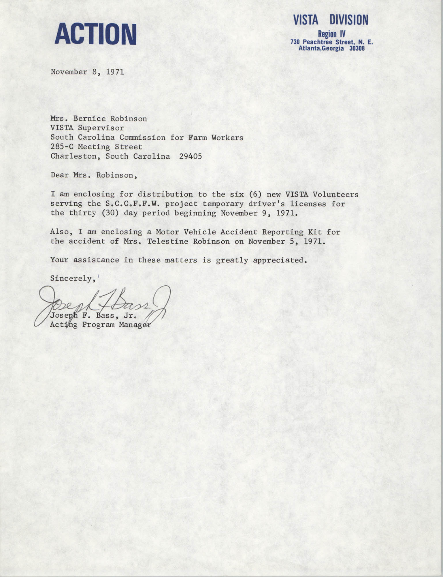 Letter from Joseph F. Bass, Jr. to Bernice Robinson, November 8, 1971