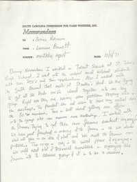 Memorandum from Lawrence Barnett to Bernice Robinson, December 6, 1971