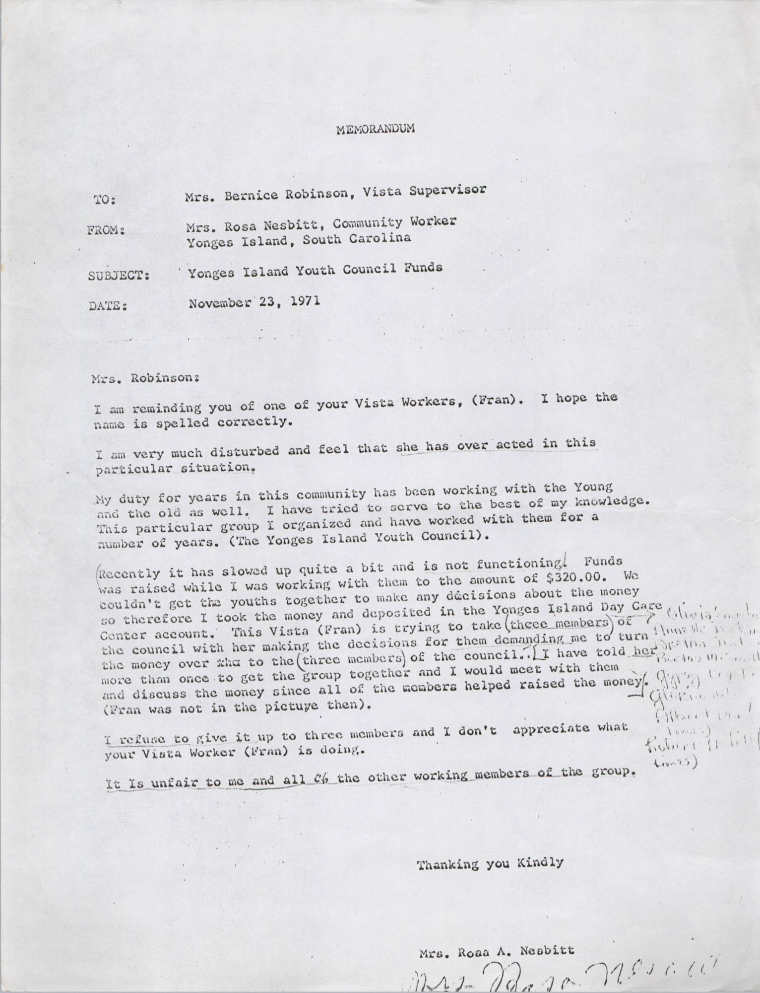 Letter from Rosa A. Nesbitt to Bernice Robinson, November 23, 1971