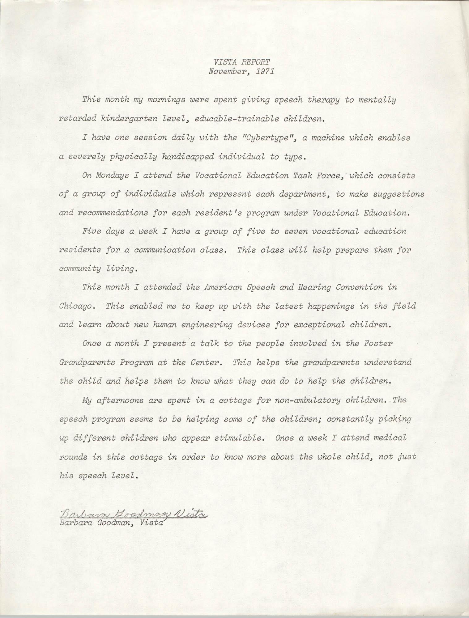 VISTA Report, November 1971