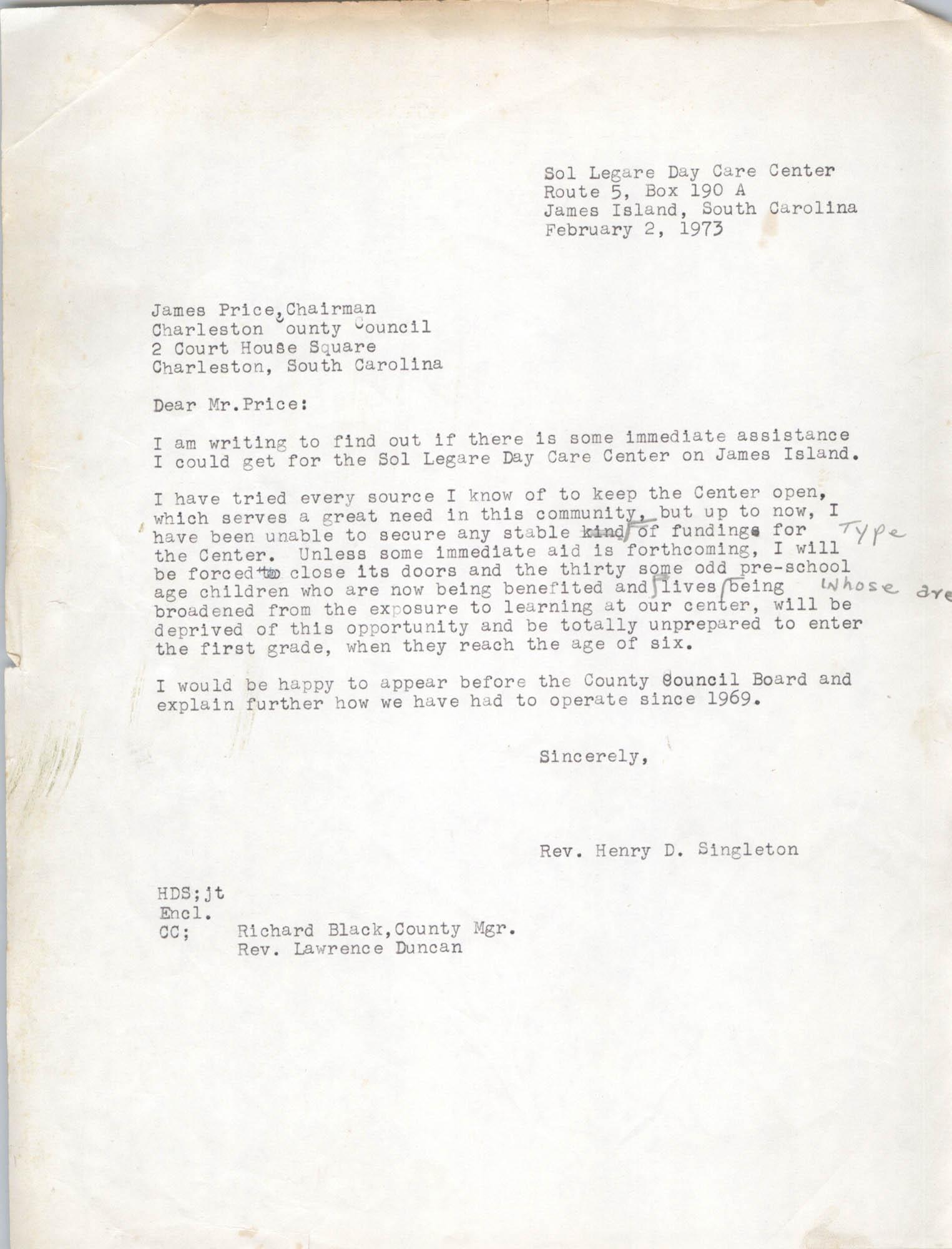 Letter from Henry D. Singleton to James Price, February 2, 1973