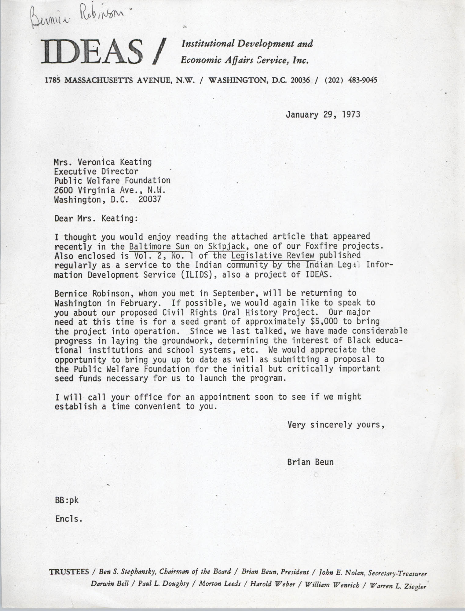 Letter from Brian Beun to Veronica Keating, January 29, 1973