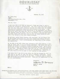 Letter from Marie D. Brown to Brian Beun, January 18, 1973