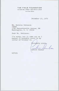 Letter from Leslie Dunbar to Bernice Robinson, December 13, 1972