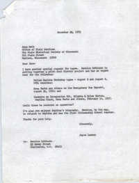 Letter from Joyce Lawson to Jane Roth, December 22, 1972