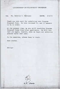 Letter from K. Z. Chavis to Bernice V. Robinson, February 5, 1973