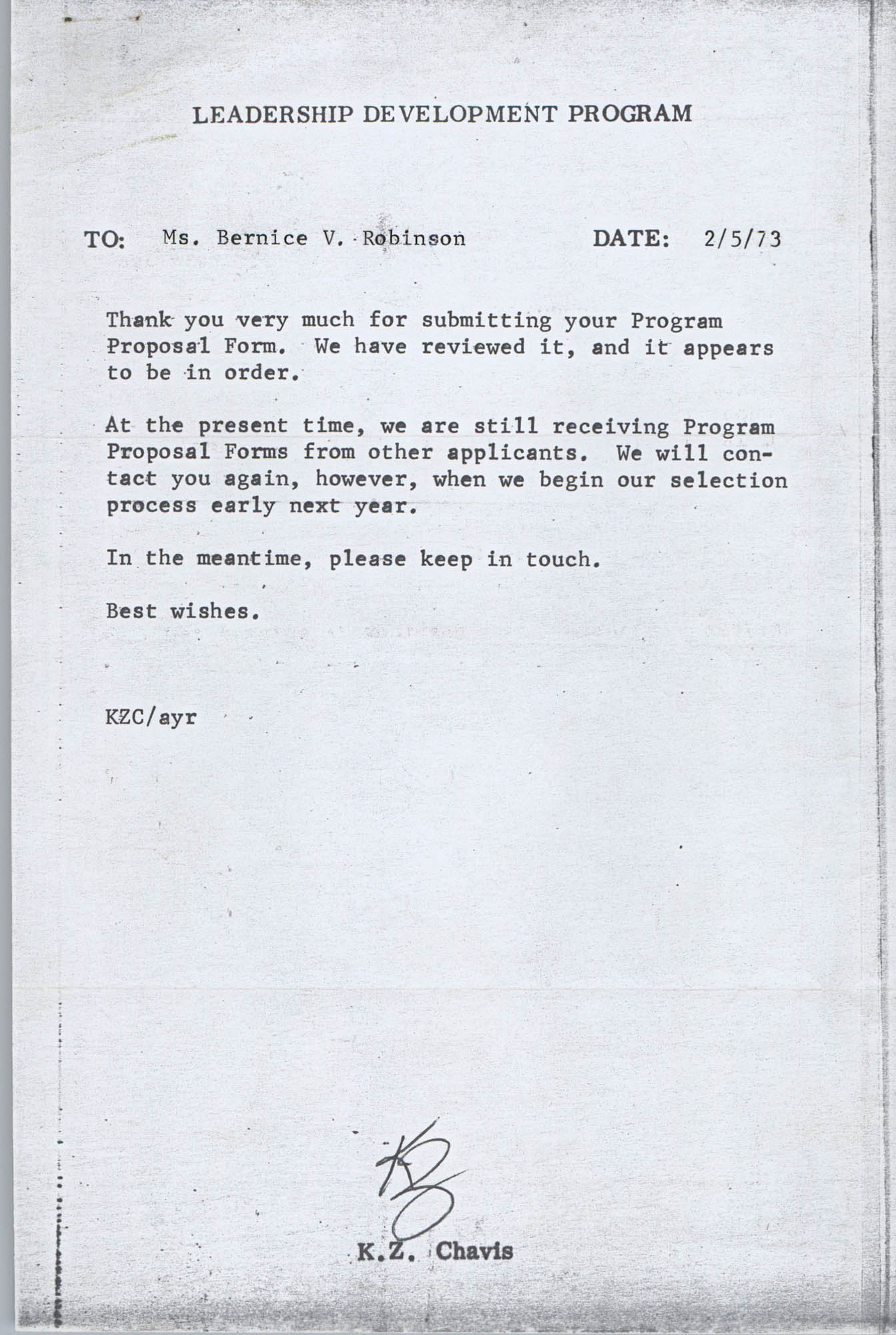 Letter from K. Z. Chavis to Bernice V. Robinson, February 5, 1973
