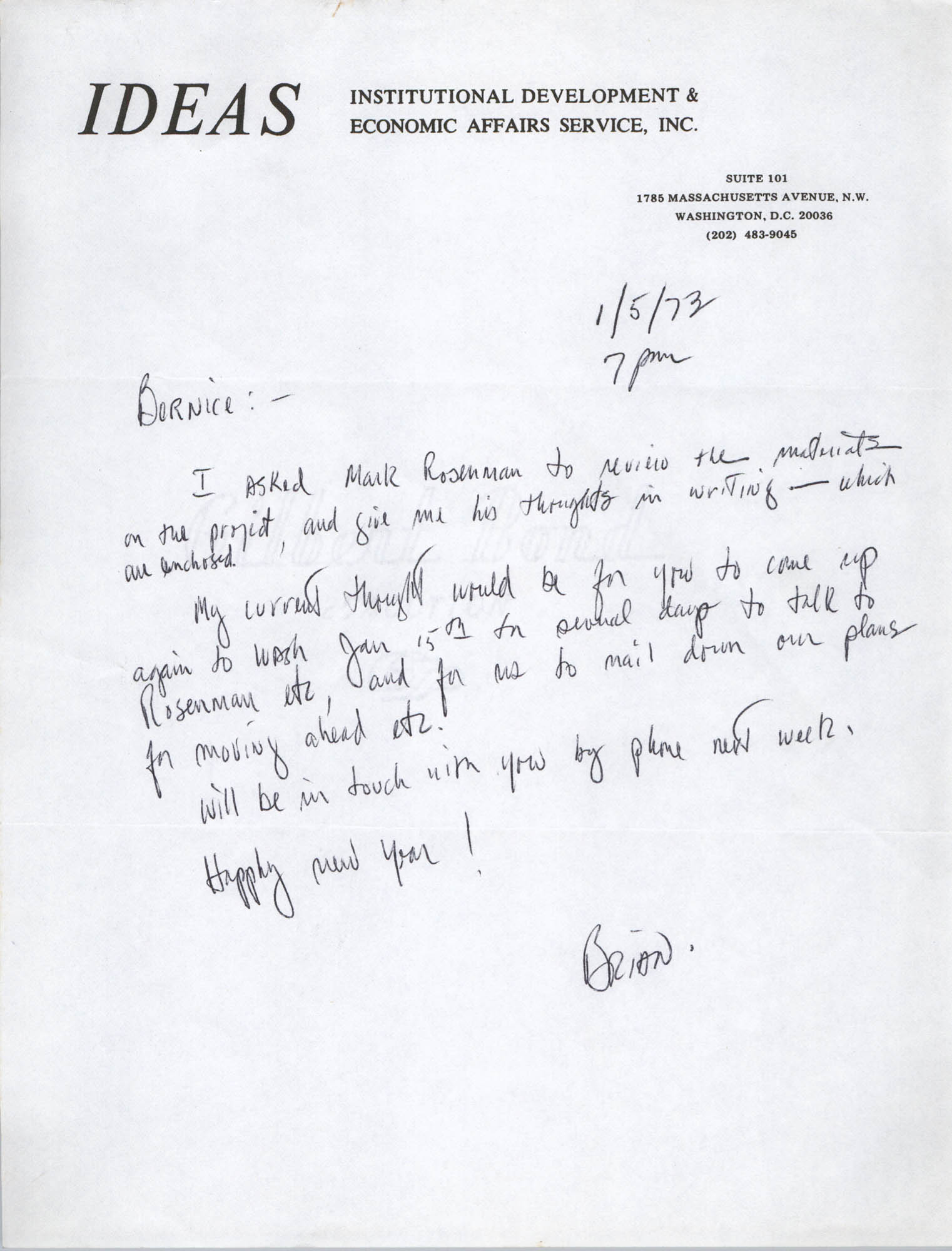 Letter from Brian Beun to Bernice Robinson, January 5, 1973