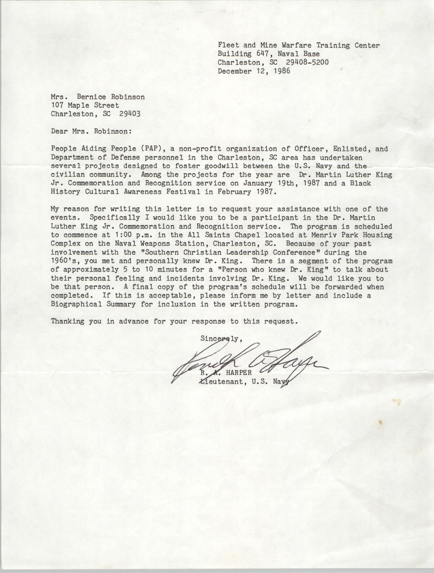 Letter from R. A. Harper to Bernice Robinson, December 12, 1986