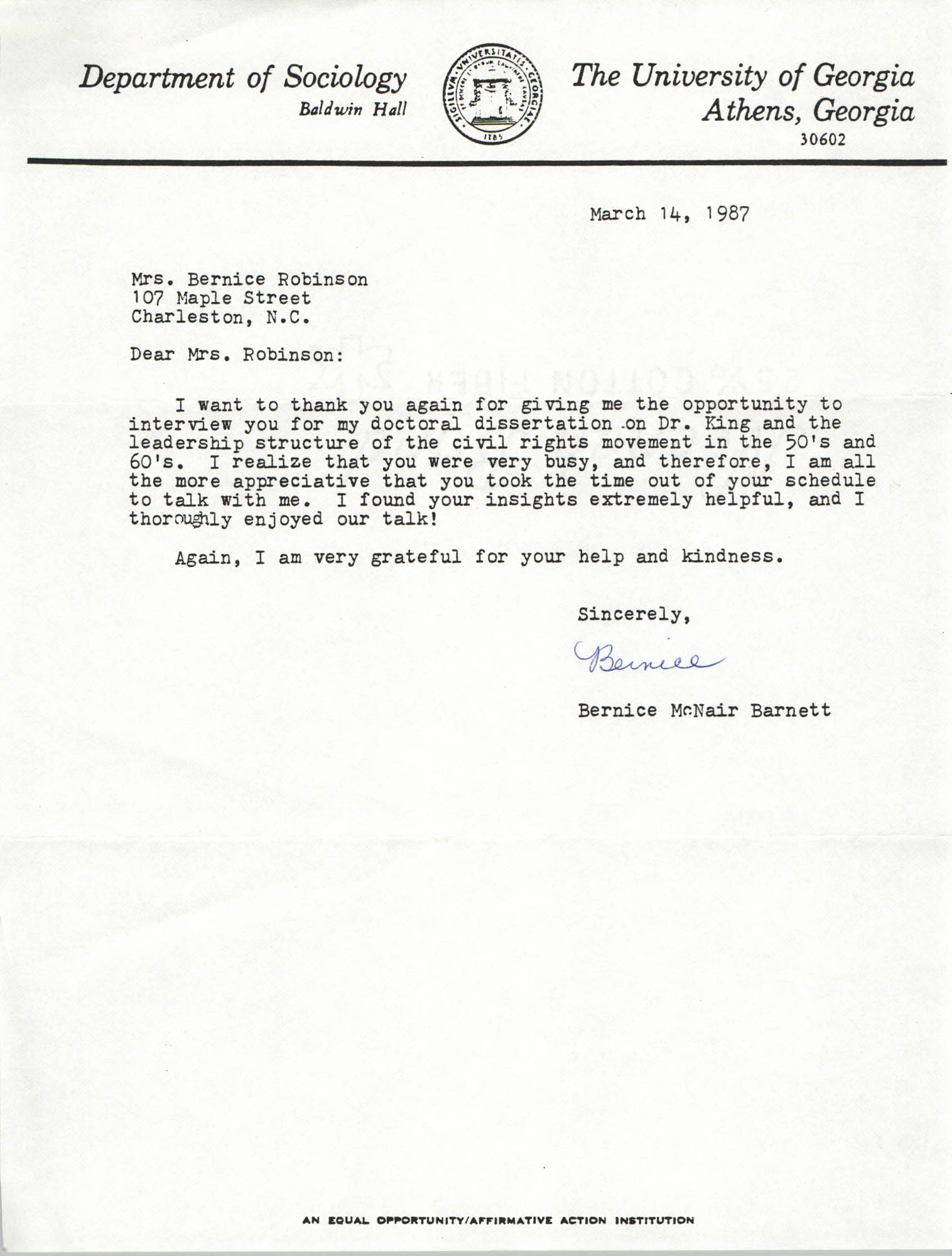 Letter from Bernice McNair Barnett to Bernice Robinson, March 14, 1987