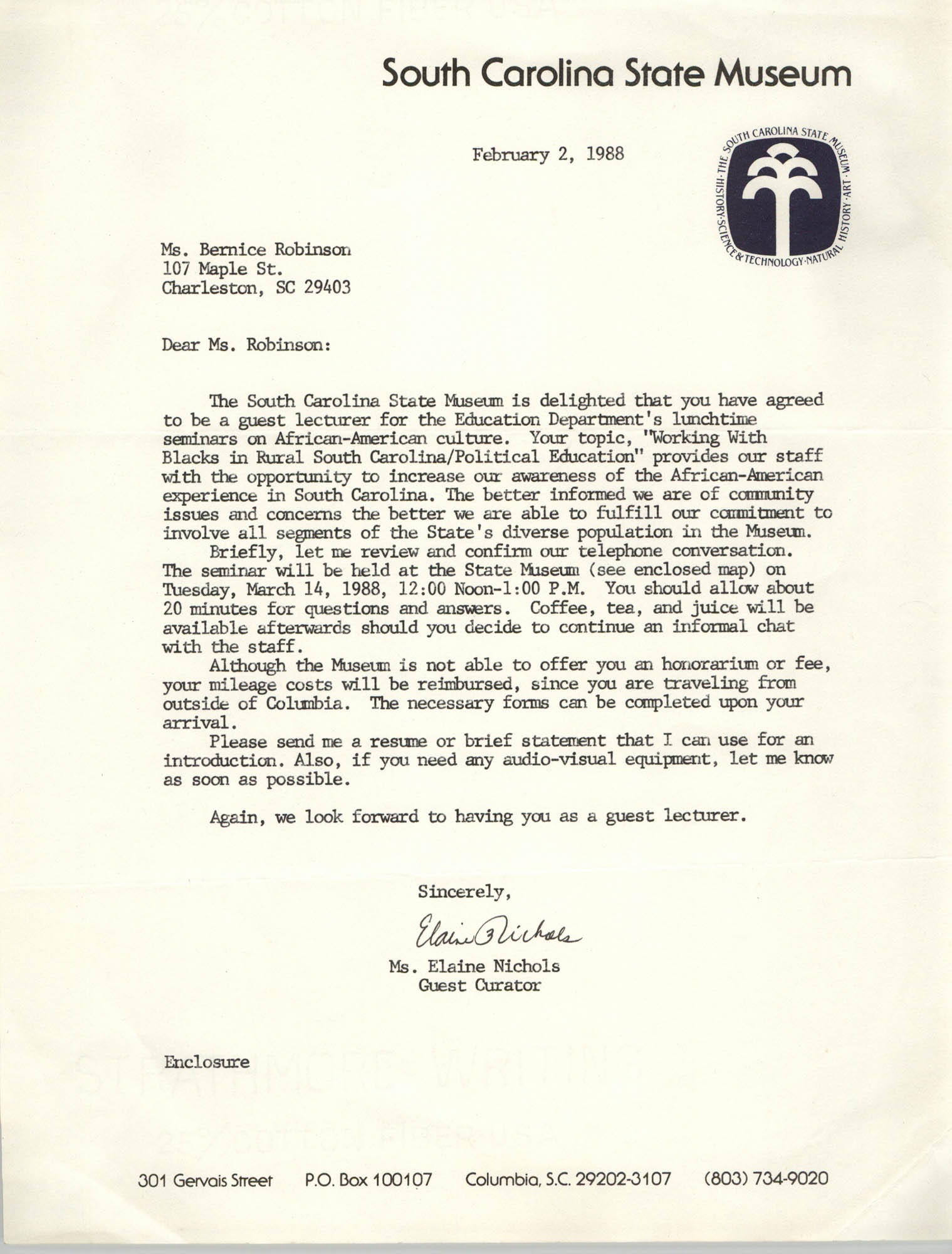 Letter from Elaine Nichols to Bernice Robinson, February 2, 1988