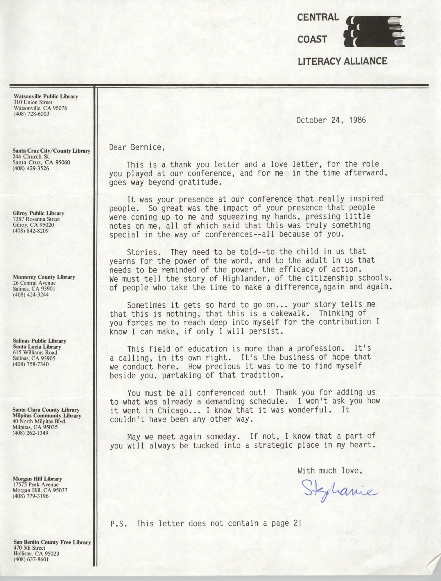 Letter from Stephanie Smith to Bernice Robinson, October 24, 1986