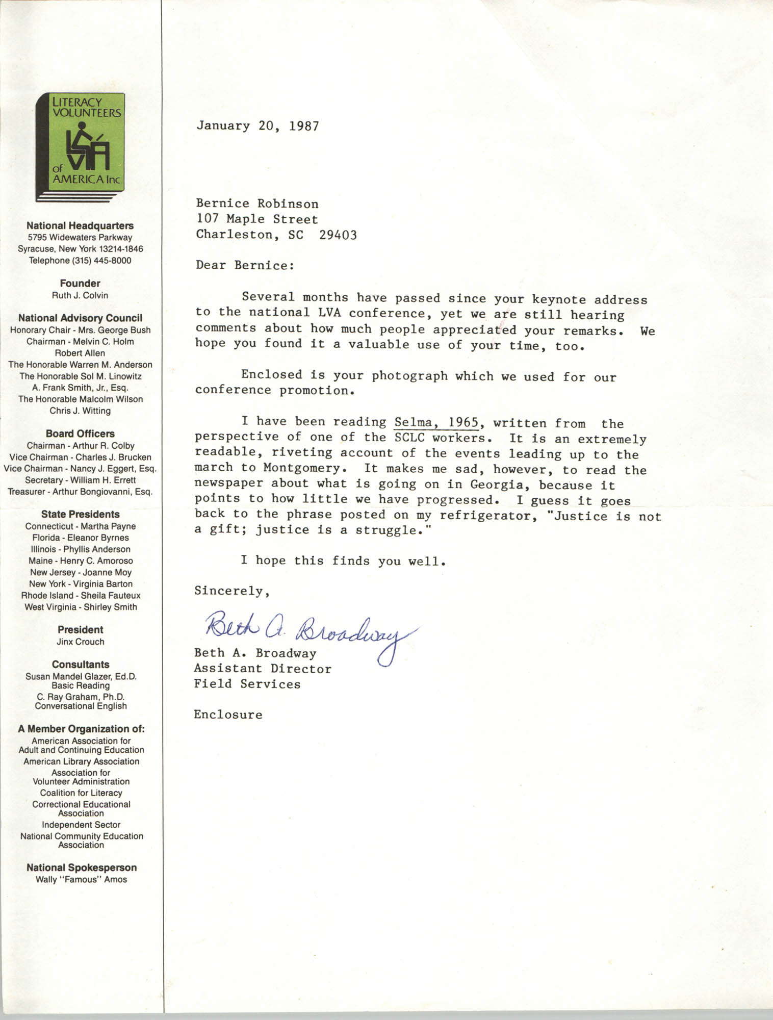 Letter from Beth A. Broadway to Bernice Robinson, January 20, 1987