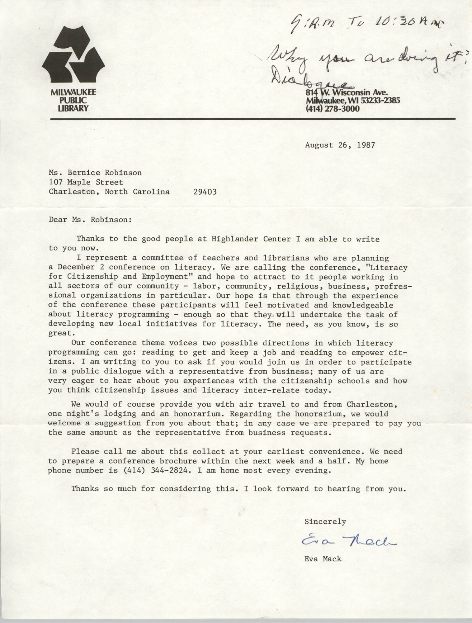 Letter from Eva Mack to Bernice Robinson, August 26, 1987