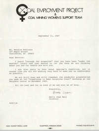 Letter from Sandra B. Oldendorf to Bernice Robinson, October 26, 1987