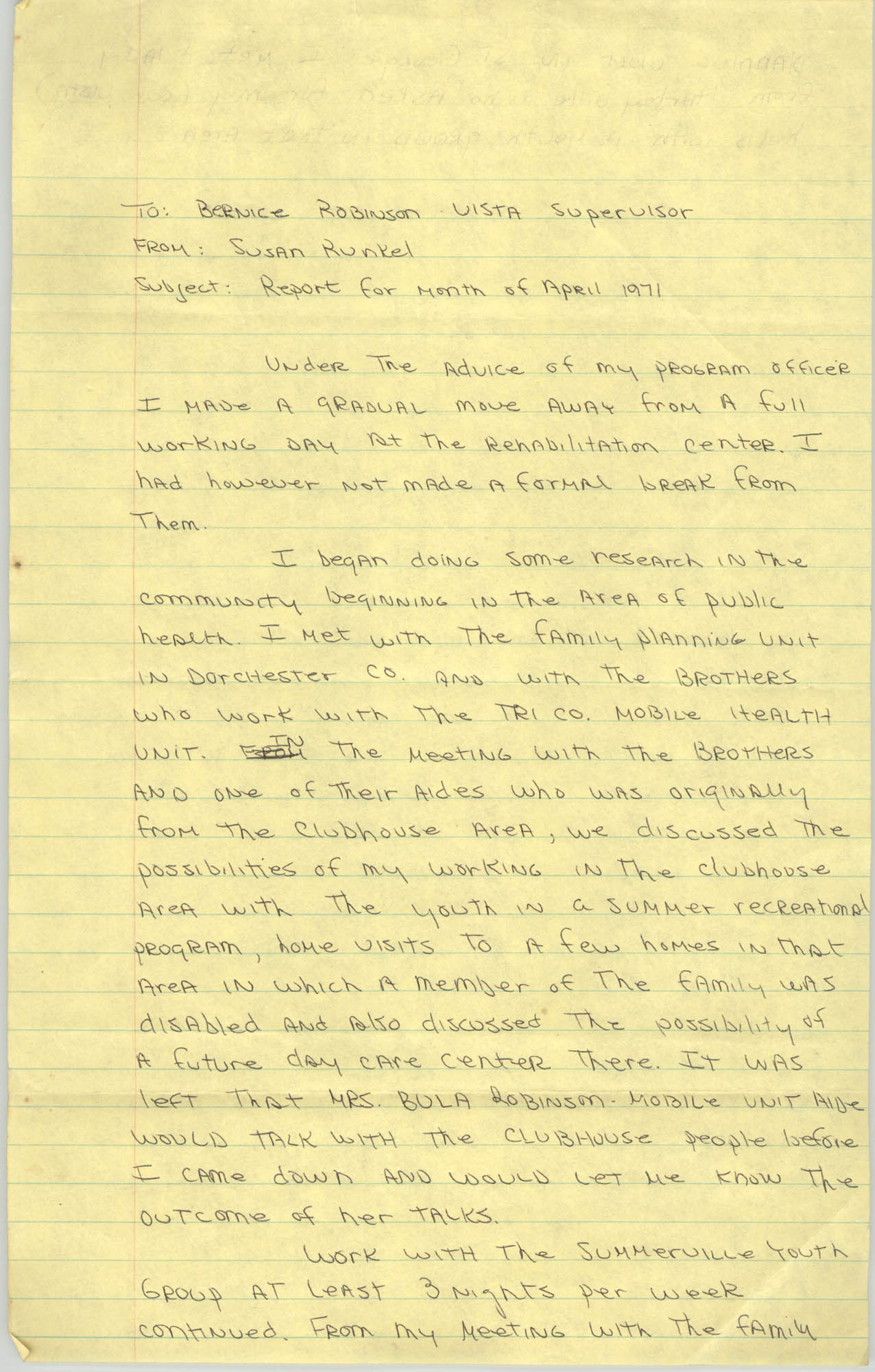 Memorandum from Susan Runkel to Bernice Robinson, April 1971