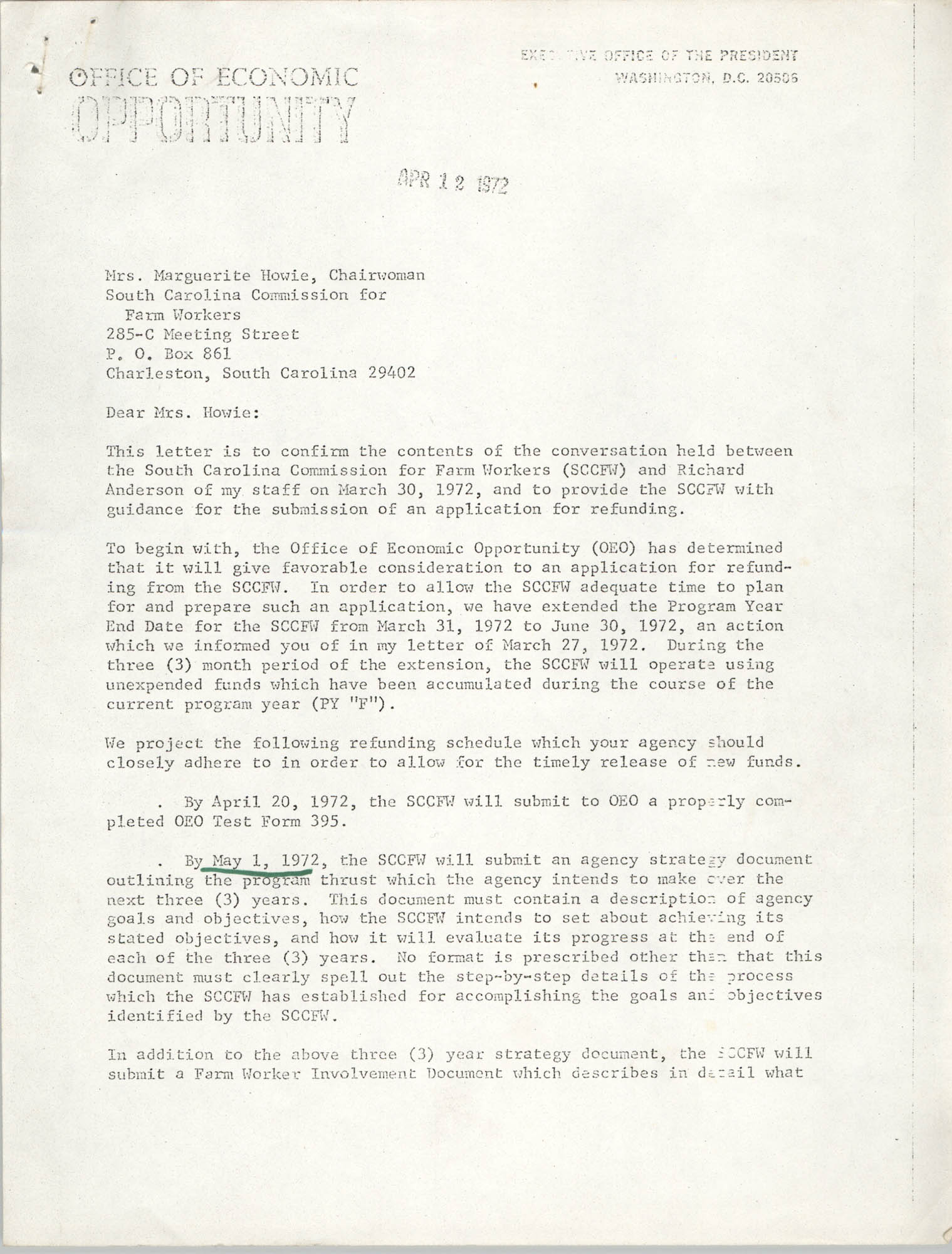 Letter from Pete M. Mirelez to Marguerite Howie, April 12, 1972