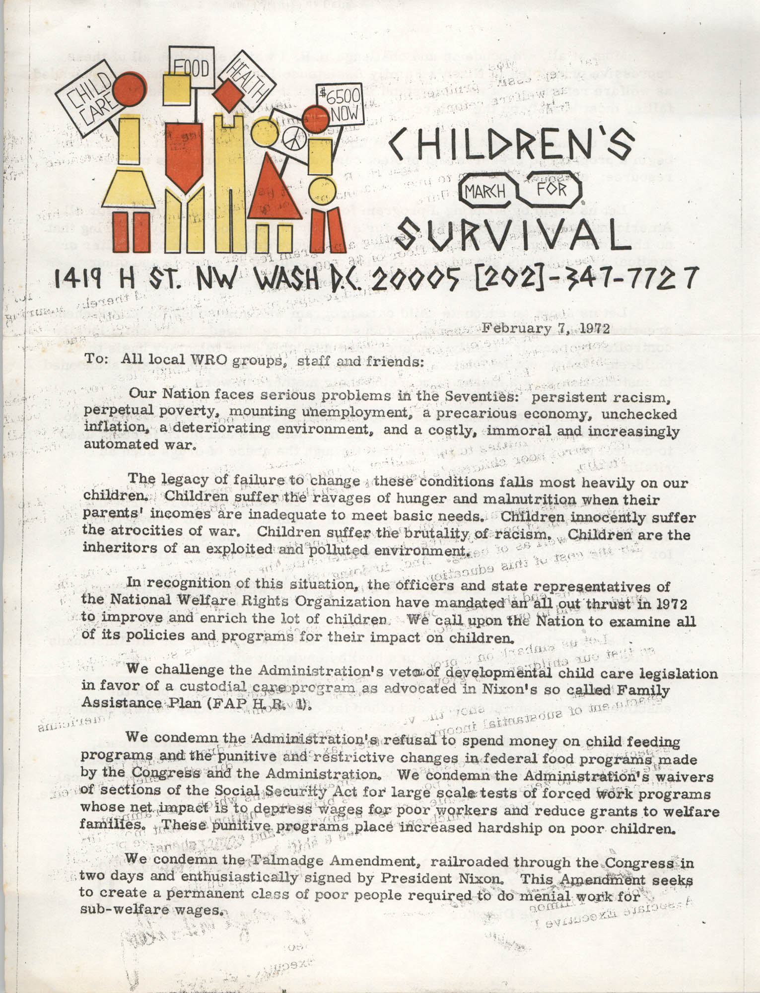 Letter from Johnnie Tillmon and George A. Wiley to All World Rights Organizations, February 7, 1972