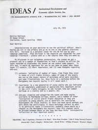 Letter from Brian Beun to Bernice Robinson, July 24, 1972