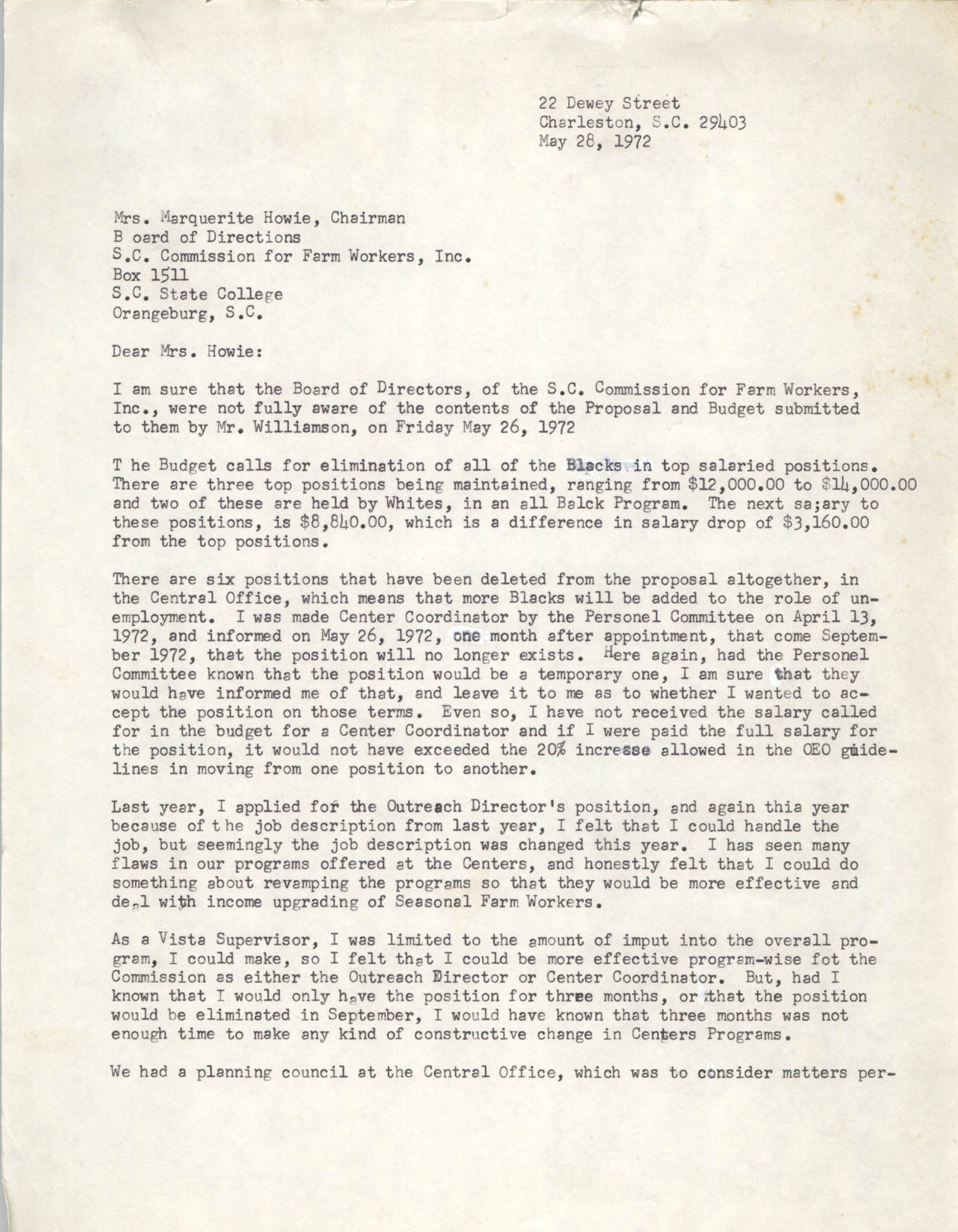 Letter from Bernice Robinson to Marquerite Howie, May 28, 1972
