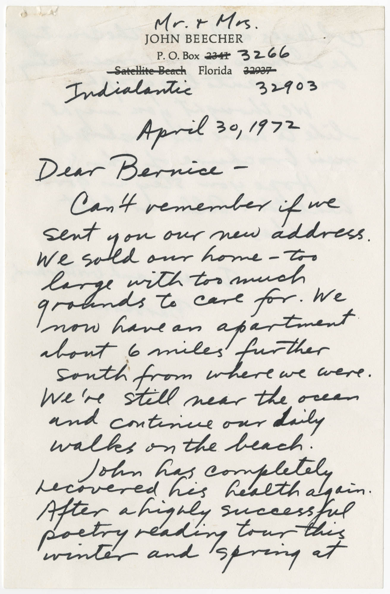 Letter from Barbara Beecher to Bernice Robinson, April 30, 1972