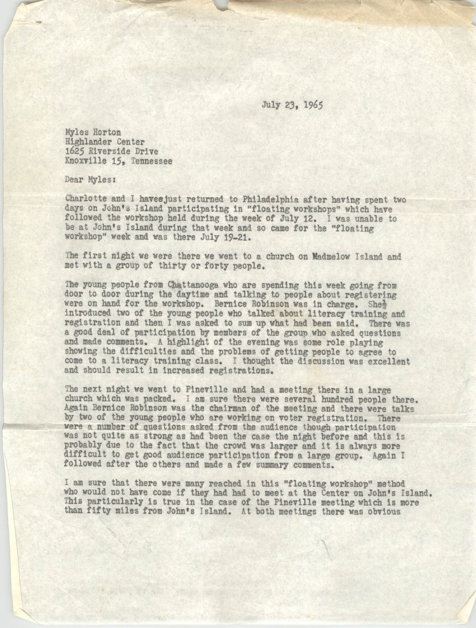 Letter from Stewart Meacham to Myles Horton, July 23, 1965
