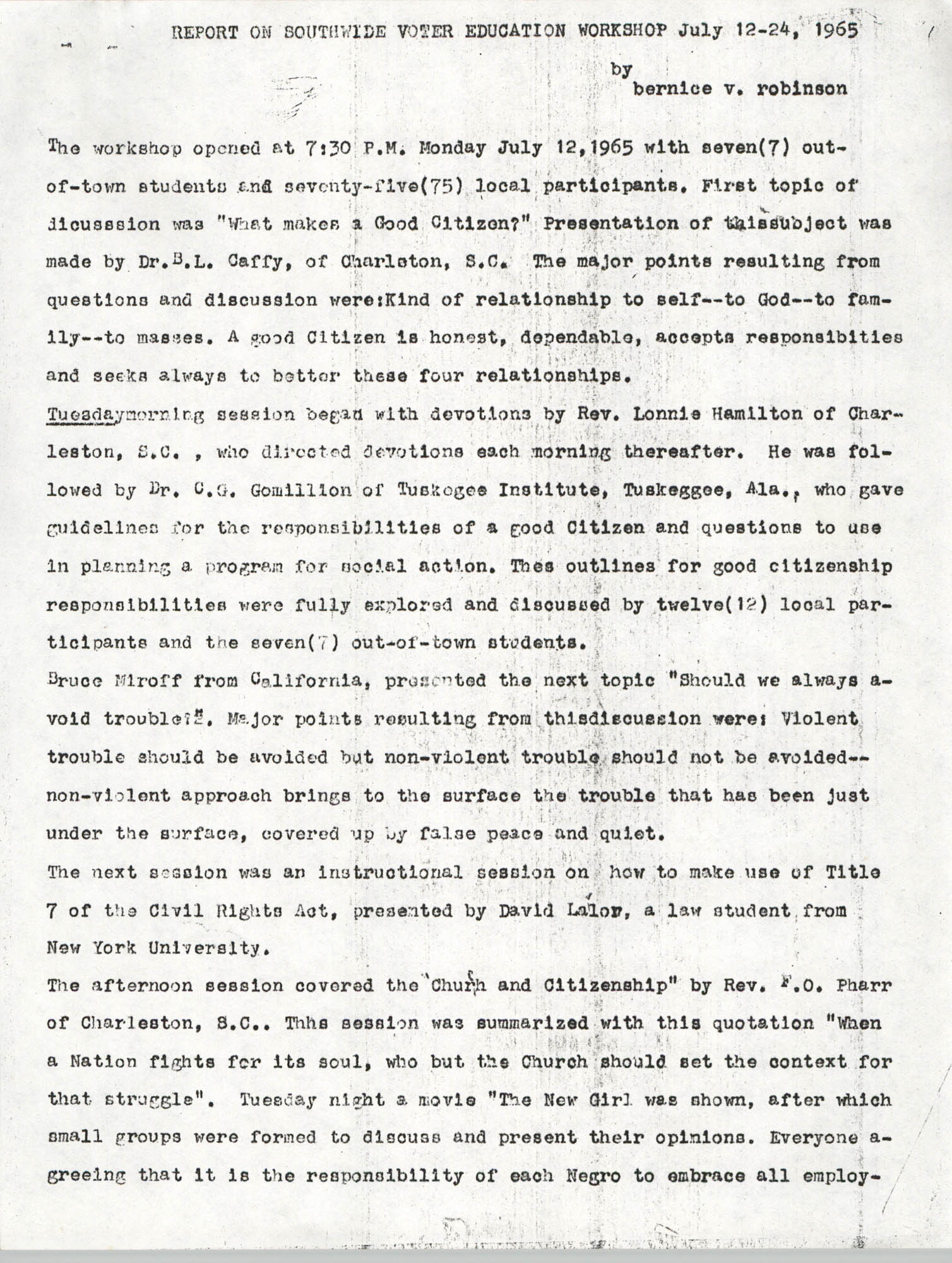 Report on Southwide Voter Education Workshop, 1965