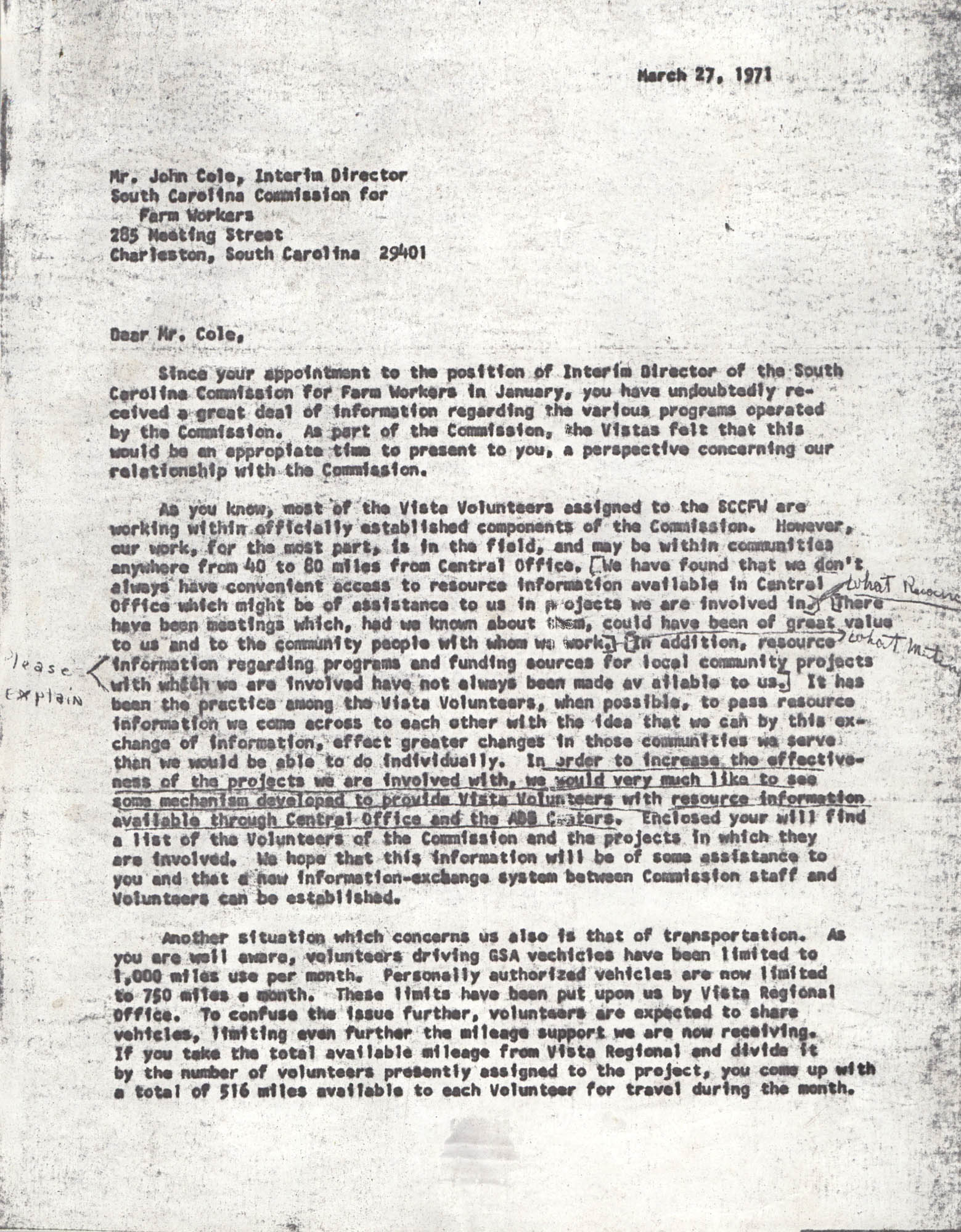 Letter from VISTA Staff to John Cole, March 27, 1971