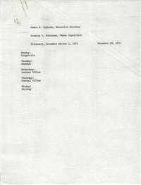 VISTA Itinerary, December 28-January 1, 1971