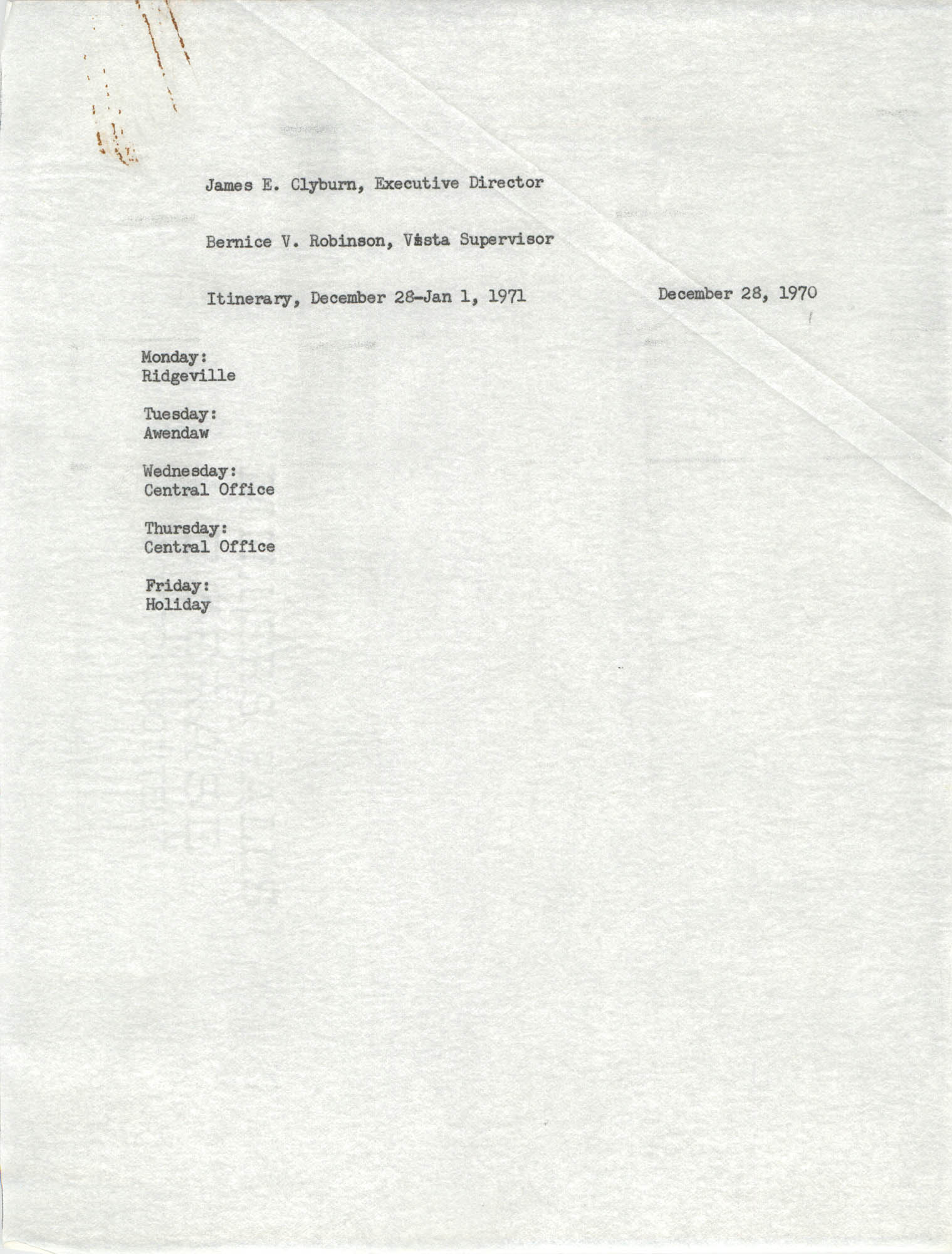 VISTA Itinerary, December 28-January 1, 1971
