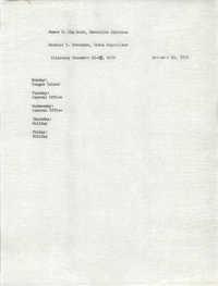 VISTA Itinerary, December 21-25, 1970