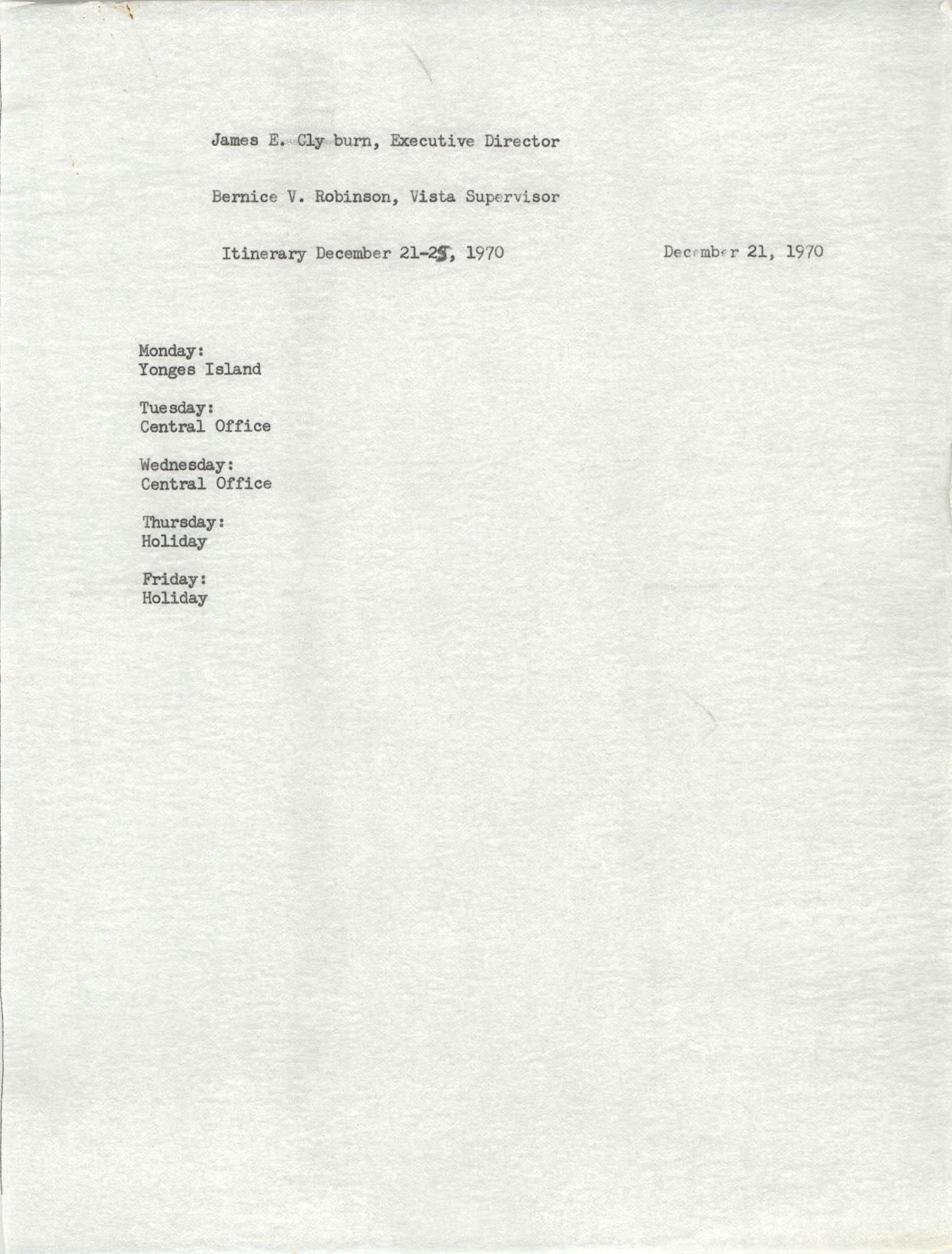 VISTA Itinerary, December 21-25, 1970