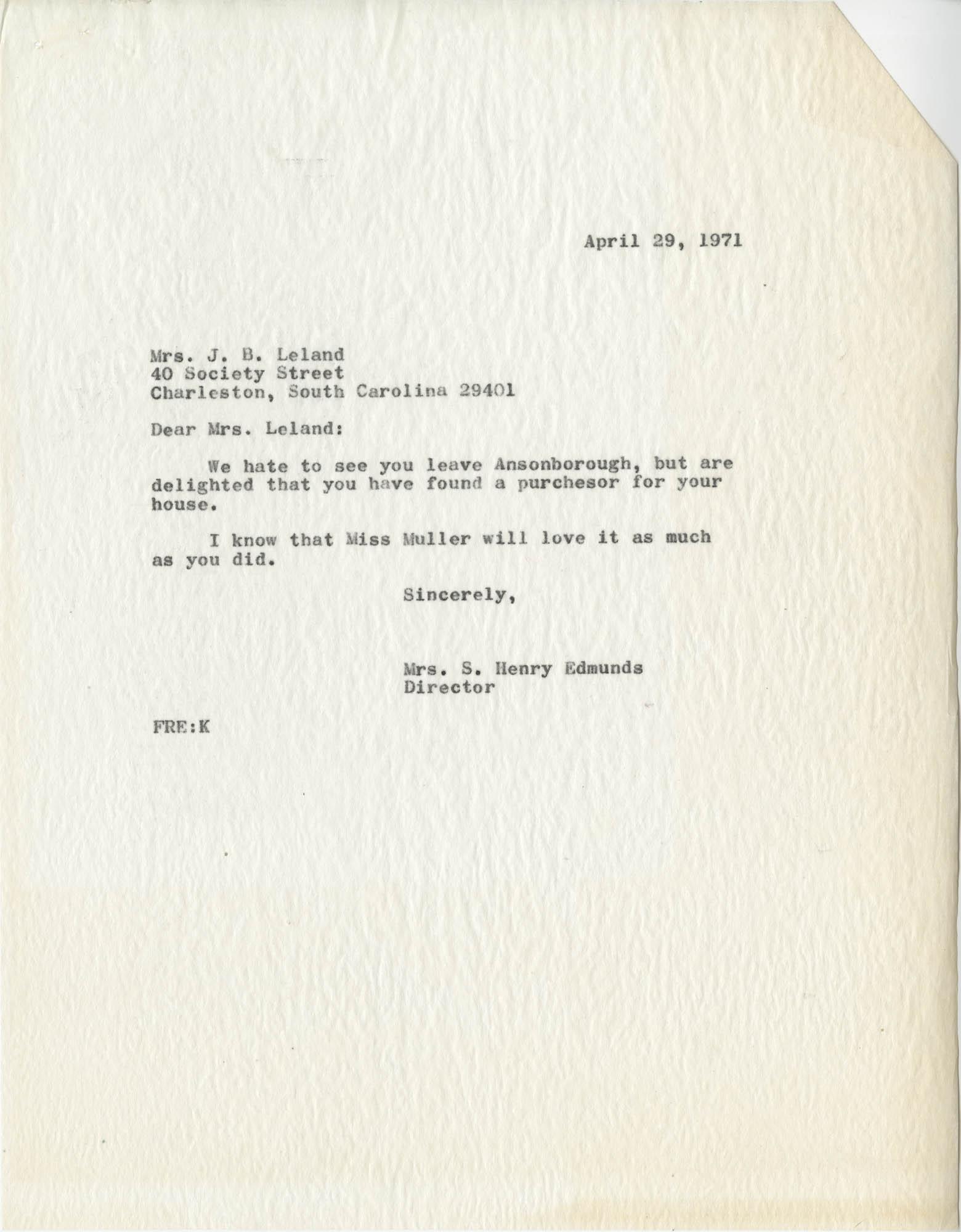 Letter from Mrs. S. Henry Edmunds to Mrs. J B. Leland