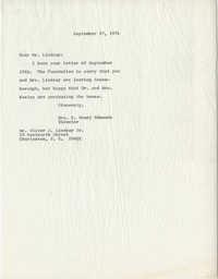 Letter from Mrs. S. Henry Edmunds to Mr. O. J. Lindsay, Jr.