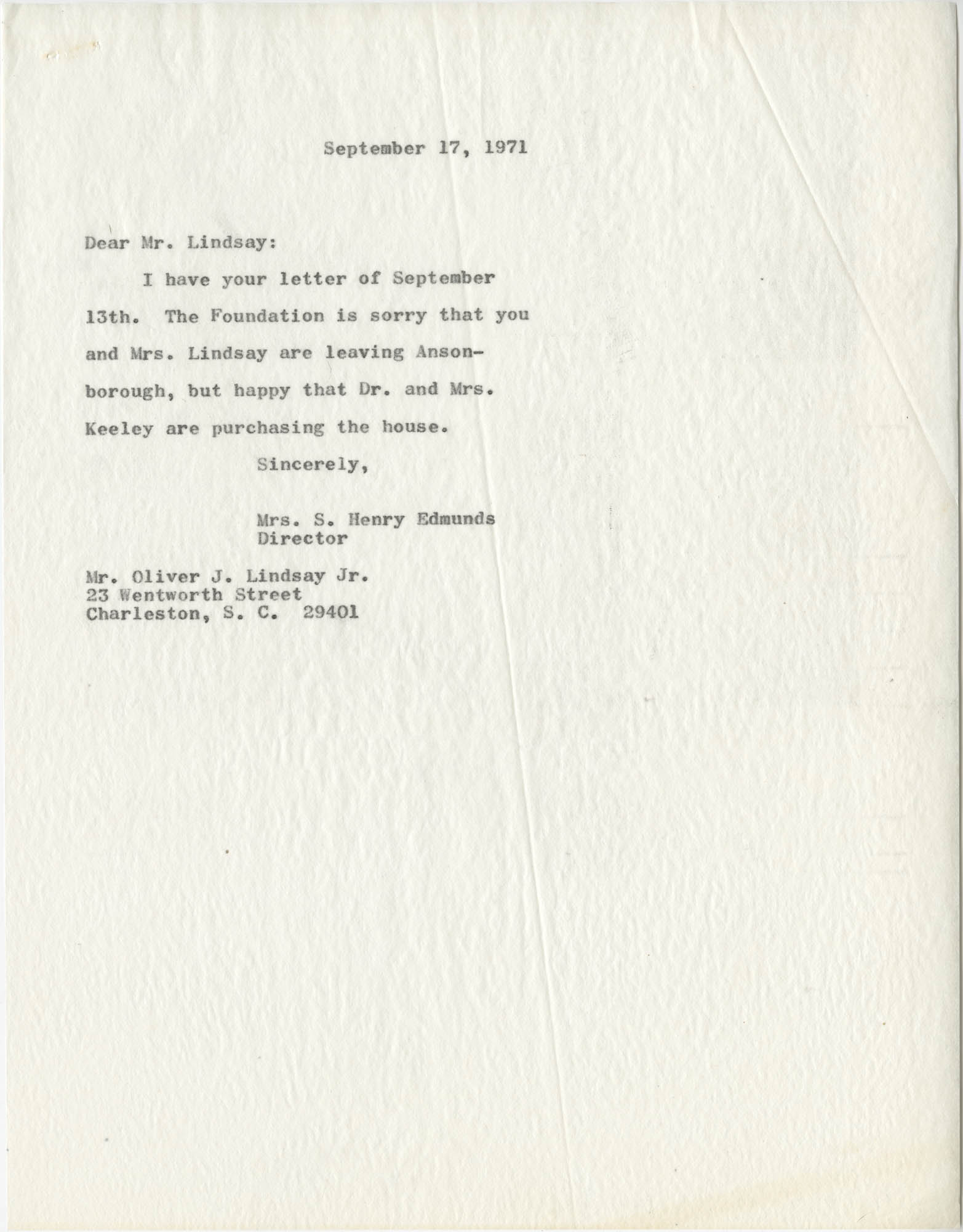 Letter from Mrs. S. Henry Edmunds to Mr. O. J. Lindsay, Jr.
