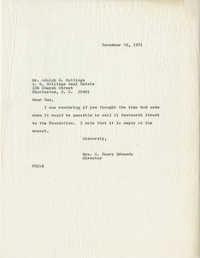 Letter from Mrs. S. Henry Edmunds to Mr. Adolph G. Hollings