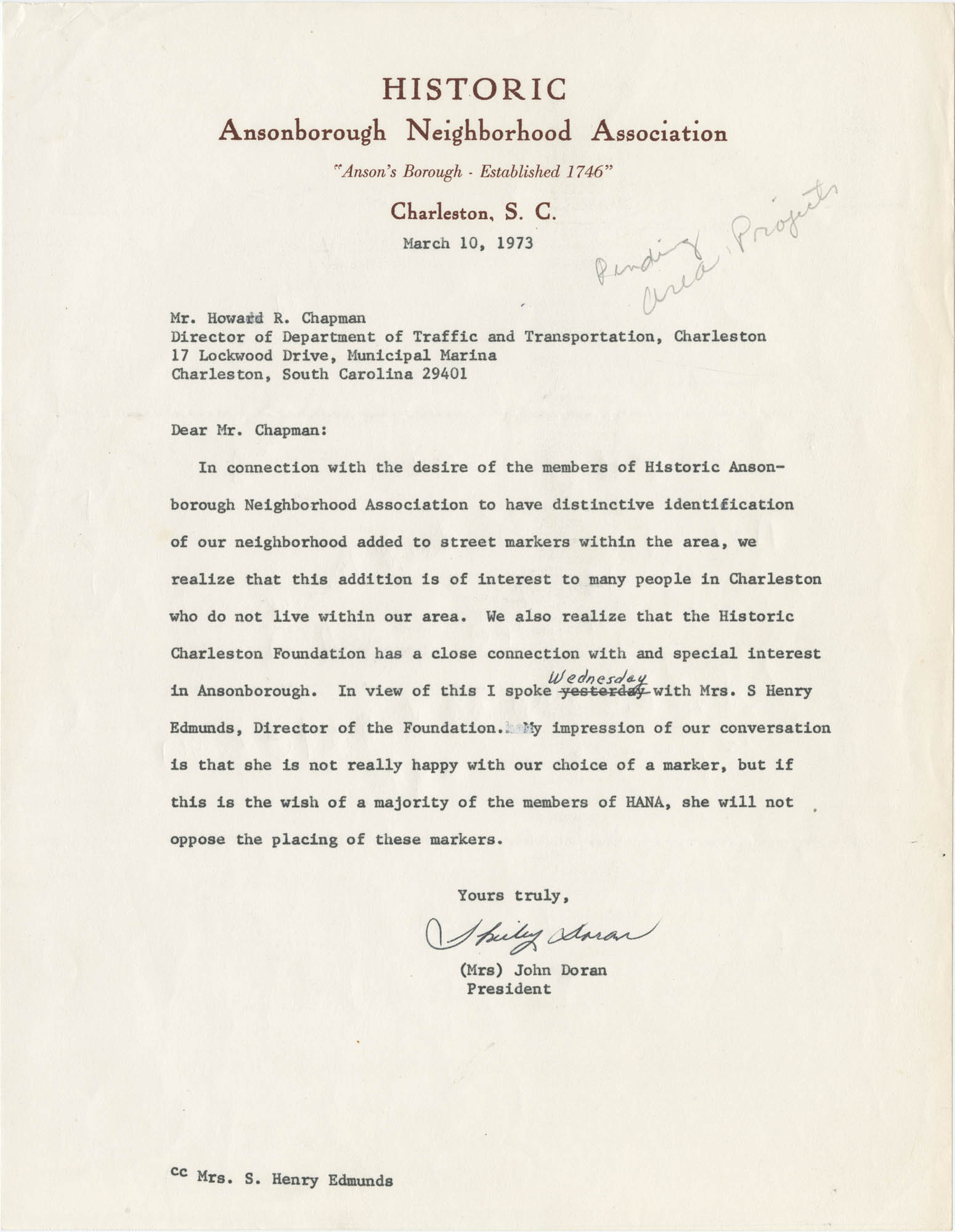 Letter from Mrs. John Doran to Howard R. Chapman
