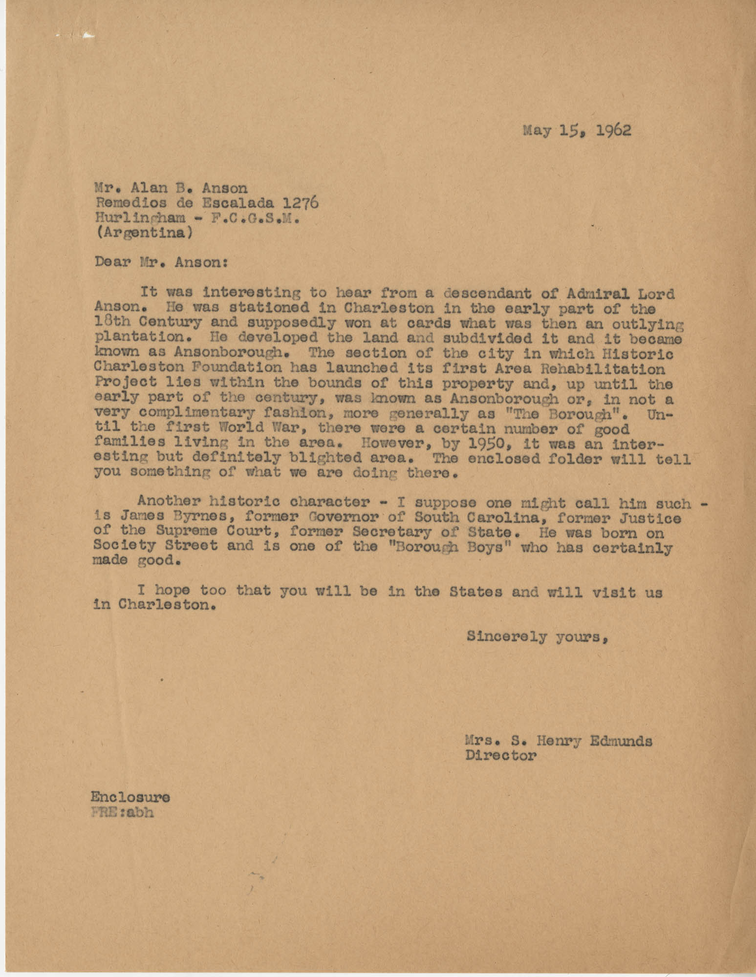 Letter from Mrs. S. Henry Edmunds to Mr. Alan B. Anson
