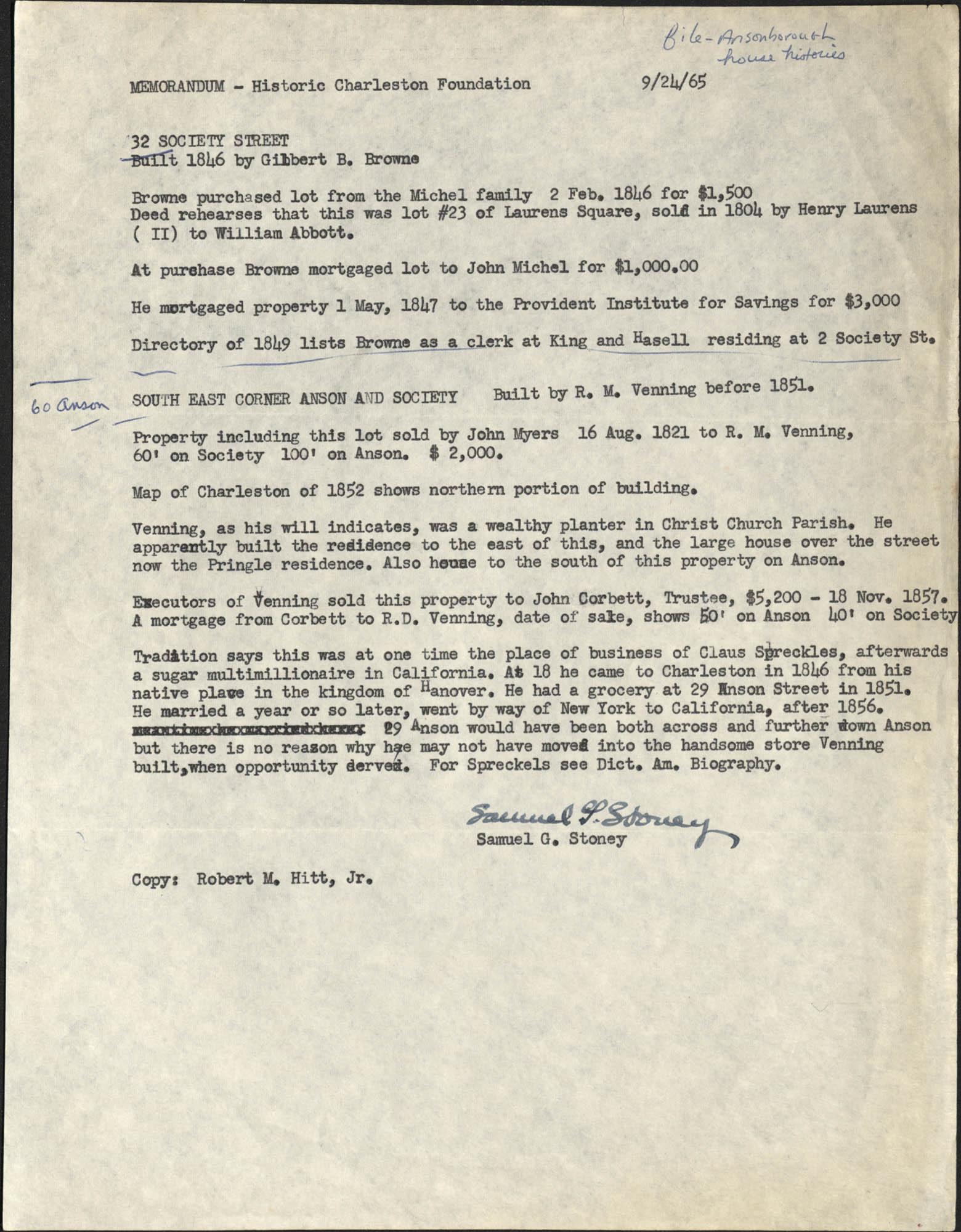 Memorandum from Samuel G. Stoney to Historic Charleston Foundation