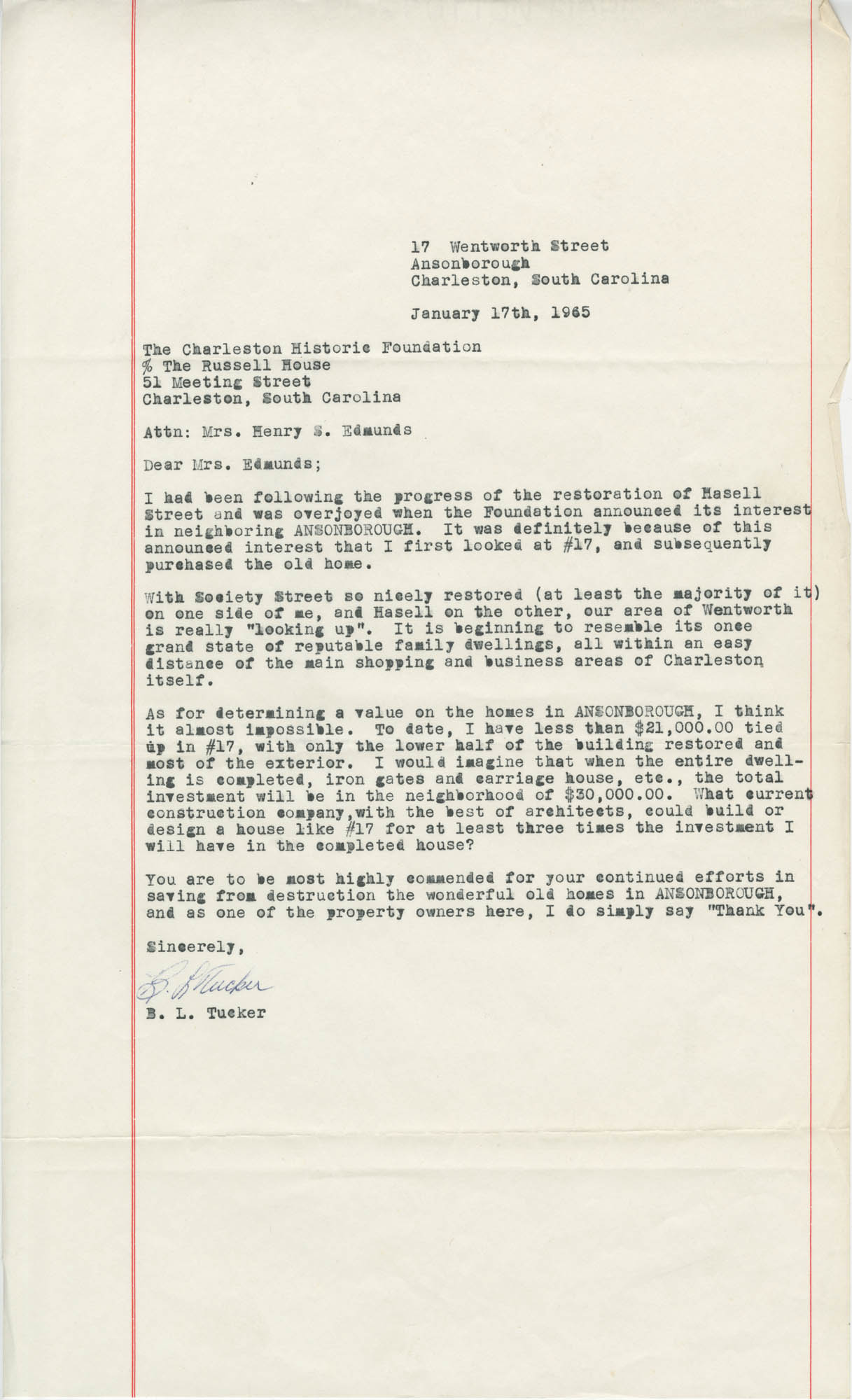 Letter from B. L. Tucker to Mrs. Henry S. Edmunds