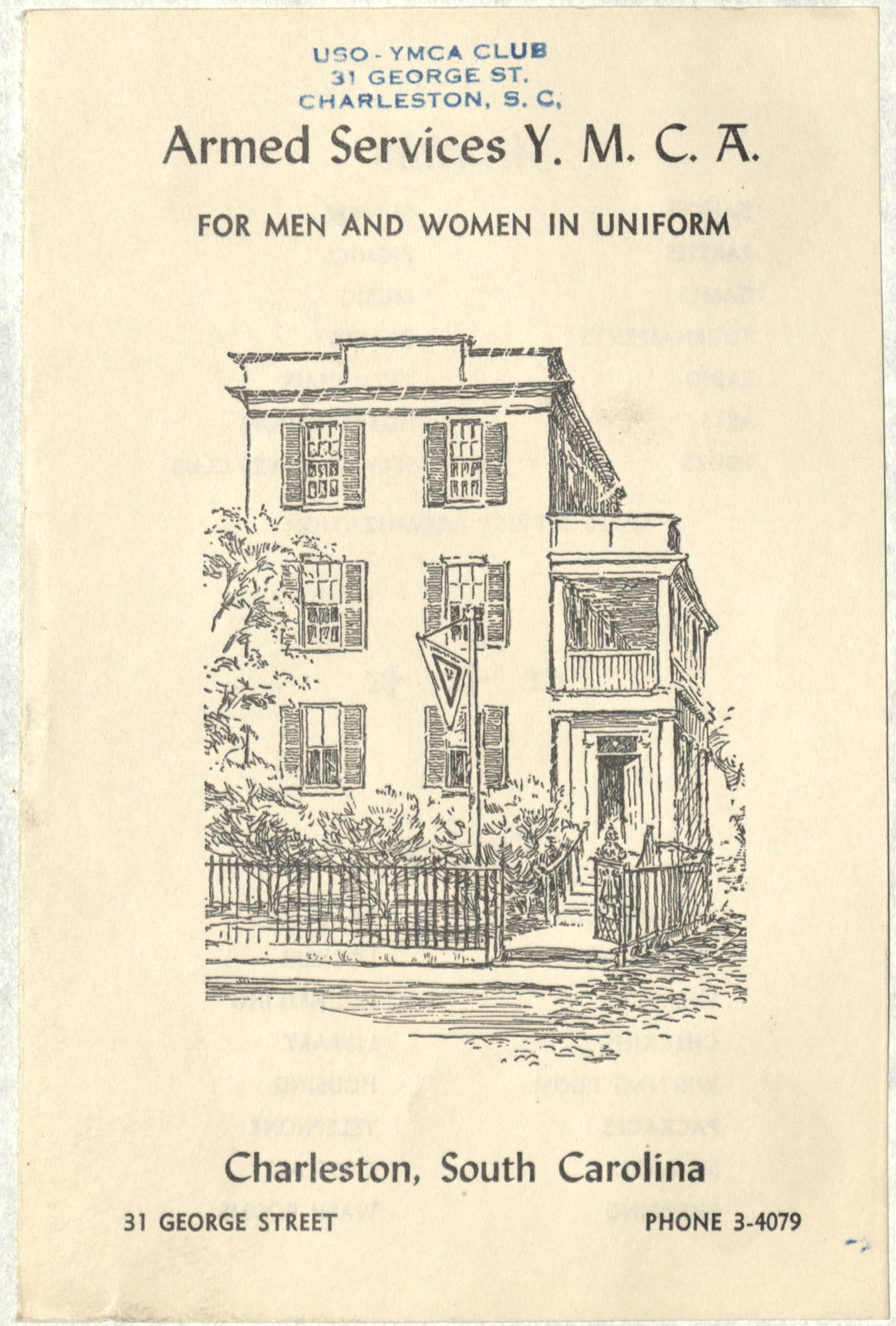 Armed Services Y. M. C. A. For Men and Women in Uniform, Charleston South Carolina, 31 George Street