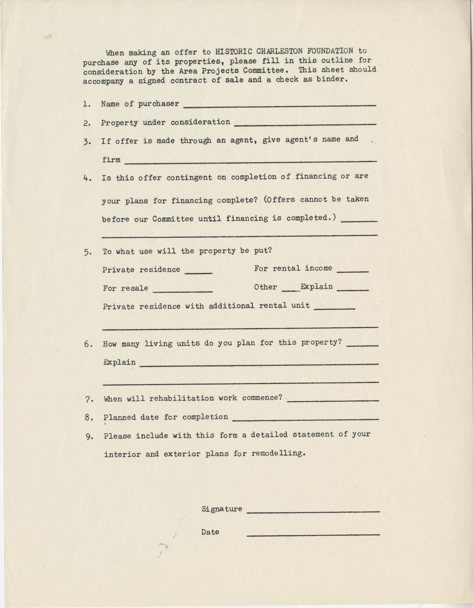 Application to purchase a property from Historic Charleston Foundation