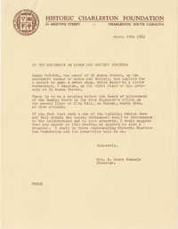 Letter from Mrs. S. Henry Edmunds to neighbors on Anson and Society Streets