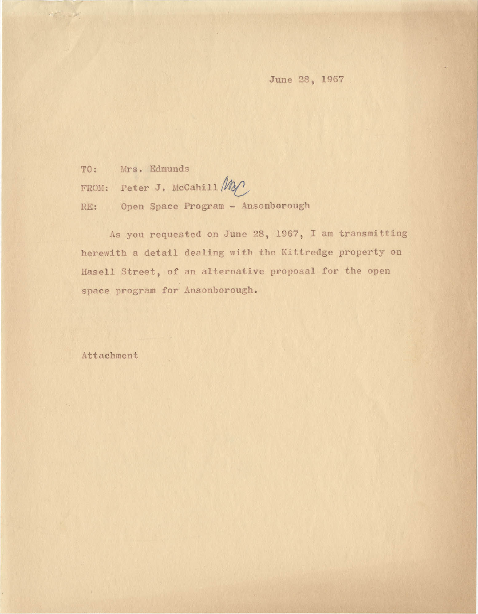 Memorandum from Peter J. McCahill to Mrs. Edmunds