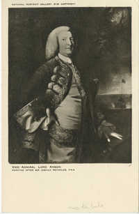 Postcard with painting of George, First Lord Anson