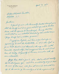 Letter from Alan B. Anson to Historic Charleston Foundation, April 30, 1962