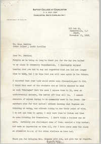 Letter from Patricia Allen to Esau Jenkins, November 23, 1968